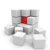 Assembled white cube with red core. Stock Photo