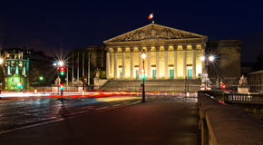 Assemblee Nationale (the French Parliament) at night. Paris stock images