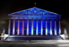 Assemblee Nationale (Palais Bourbon), illumination Stock Photos