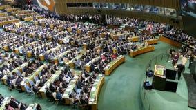 Assembleia geral de United Nations video estoque