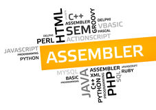 ASSEMBLER word cloud, tag cloud, vector graphic Stock Photo