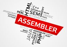 ASSEMBLER word cloud, tag cloud, vector graphics Royalty Free Stock Image