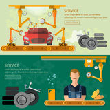 Assemblerende van de de autoreparatie van de auto'sfabriek de bannerstransportband stock illustratie