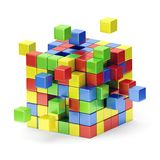 Assembling colorful cube structure. Concept. Royalty Free Stock Photography