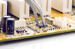 Assembling Computer Circuit Board Closeup Royalty Free Stock Photo