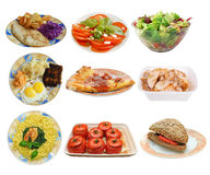 Assembling of different dishes Royalty Free Stock Photos