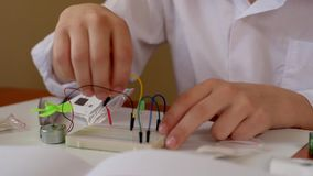 Assembling electrical circuit stock video footage