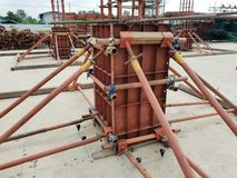Assembling formworks for reinforcement concrete column. royalty free stock photography