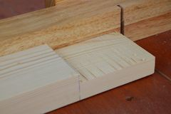 Assembling furniture, rabbet joint Stock Photo
