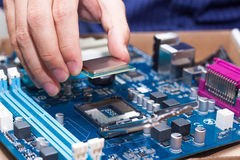 Assembling high performance personal computer Royalty Free Stock Images