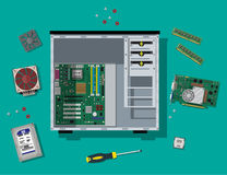 Assembling PC. Personal computer hardware. Motherboard, hard drive, cpu, fan, graphic card, memory, screwdriver and case. Assembling PC. Personal computer stock illustration