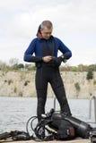 Assembling scuba gear. Preparing for dive, assembling scuba gear Stock Photo