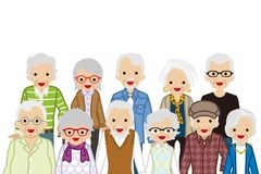 Assembling Senior people, Waist up. Vector Illustration stock illustration