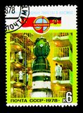 Assembling Soyuz-31, Soviet-East Germany Space Flight serie, c. MOSCOW, RUSSIA - NOVEMBER 26, 2017: A stamp printed in USSR (Russia) shows Assembling Soyuz-31 Stock Image