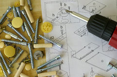 Assembling. The table with instruction Royalty Free Stock Photos
