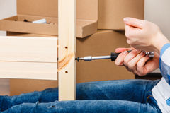 Assembling wood furniture using scredriver. DIY. Stock Photography