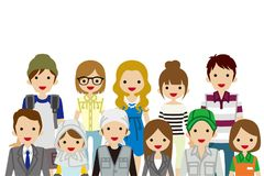 Assembling Young Adults people, Waist up. Vector Illustration royalty free illustration