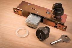 Assembly of aluminium door lock for installation, adjustment or repair. Part of aluminium door locks set stock image