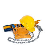 Assembly belt, the tool and building helmet Stock Photos