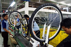 Assembly Bicycle Bike From Indonesia Stock Photo