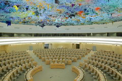 Assembly chamber. The Human Rights and Alliance of Civilizations Room with chairs and tables put up in concentric semicircles of United Nations in Geneva Stock Photography