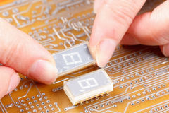 Assembly of electronic components on circuit board Royalty Free Stock Images