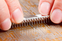 Assembly of electronic components on circuit board Stock Photography