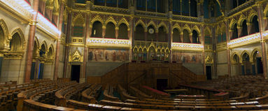 Assembly hall in the Hungarian parliament Royalty Free Stock Photo