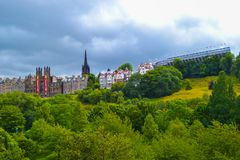 Assembly Hall on the Mound and Princes Street Gardens in Edinburgh, Scotland royalty free stock photo