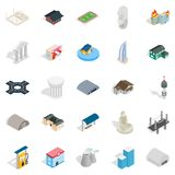 Assembly icons set, isometric style. Assembly icons set. Isometric set of 25 assembly vector icons for web isolated on white background Stock Photo