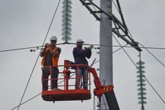 Assembly and installation of new support of a power line Stock Photography