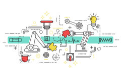 Assembly Line Art. With elements and icons combined in colored composition vector illustration vector illustration