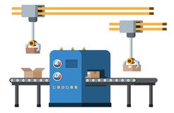 Assembly line. Automated conveyor system. Royalty Free Stock Photography