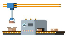 Assembly line. Automated conveyor system. Royalty Free Stock Image