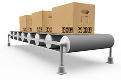 Assembly line with boxes. Assembly line with some boxes in 3D stock illustration