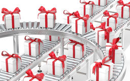 Assembly line with gift boxes Stock Photography
