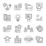 Assembly Line Icon Set. Black isolated assembly line icon set with elements of development and implementation of mechanisms vector illustration royalty free illustration