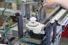 Assembly line of plastic components Stock Images
