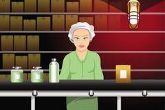Assembly line worker. Cartoon illustration of an assembly line worker stock illustration