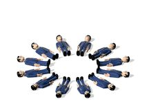 Assembly of lying down 3D Cartoon character Stock Photo