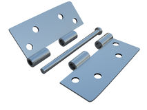 Assembly metal hinges on a white Stock Photo