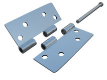 Assembly metal hinges on a white Royalty Free Stock Images