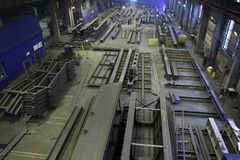 Assembly of metal structures in manufacturing shop floor, indust Stock Photos