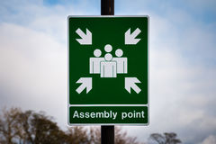 Assembly Point. Fire assembly point sign Stock Photos