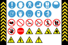 Assembly Point and First Aid Signs vector Stock Photos