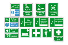 Assembly Point and First Aid Signs vector, isolate Royalty Free Stock Image