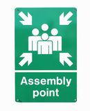 Assembly point sign Stock Photos