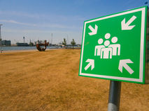 Assembly point. Signs are essential for identifying areas of safety where persons should assemble in the event of an emergency Royalty Free Stock Images