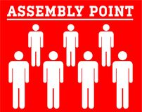 Assembly point symbolboard with group icon people isolated on re. Illustrations assembly point symbolboard with group icon people isolated on red background Royalty Free Stock Photography
