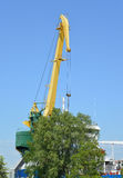 The assembly portal crane in the territory of ship-repair plant Royalty Free Stock Photos